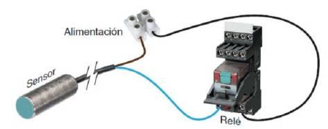 Conexión sensor inductivo a dos hilos.