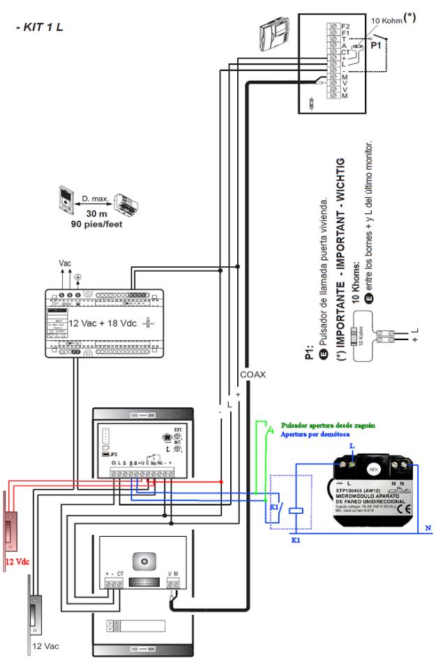 El videoportero curso carnet instalador baja tensi n for Cables telefonillo colores